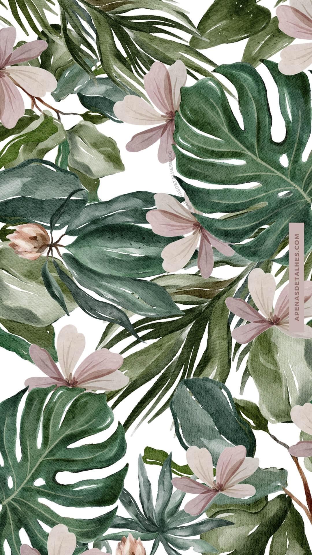 Papel de parede feminino tropical vibes